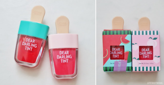 Etude House Dear Darling Tint lip tint red pink peach watermelon packaging popsicle RD307 PK005