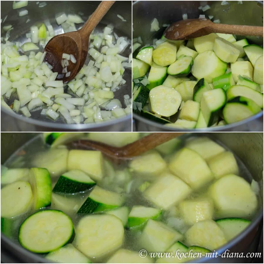 Zucchinicremesuppe kochen