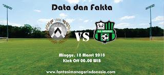 Data dan Fakta Liga Fantasia Serie A Gio 29 Udinese vs Sassuolo Fantasi manager Indonesia