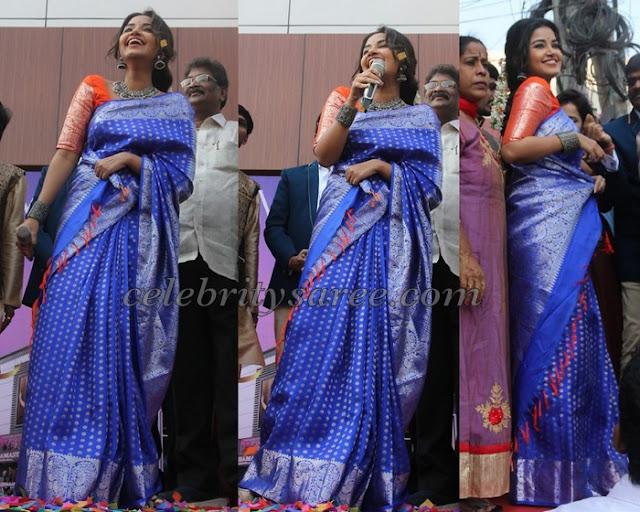 Anupama Parameshwaran Blue Kanchi Pattu Sari