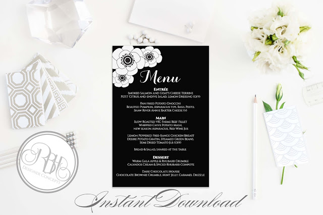 black and white anemone menu by rbh designer concepts