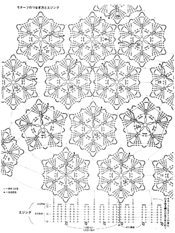 Boina de motivos hexagonales en crochet