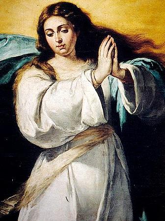 Retrato de la Inmaculada Concepción uniendo las manos