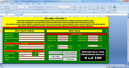 Aplikasi Raport SMP KTSP Format Excel Gratis Fitur Lengkap