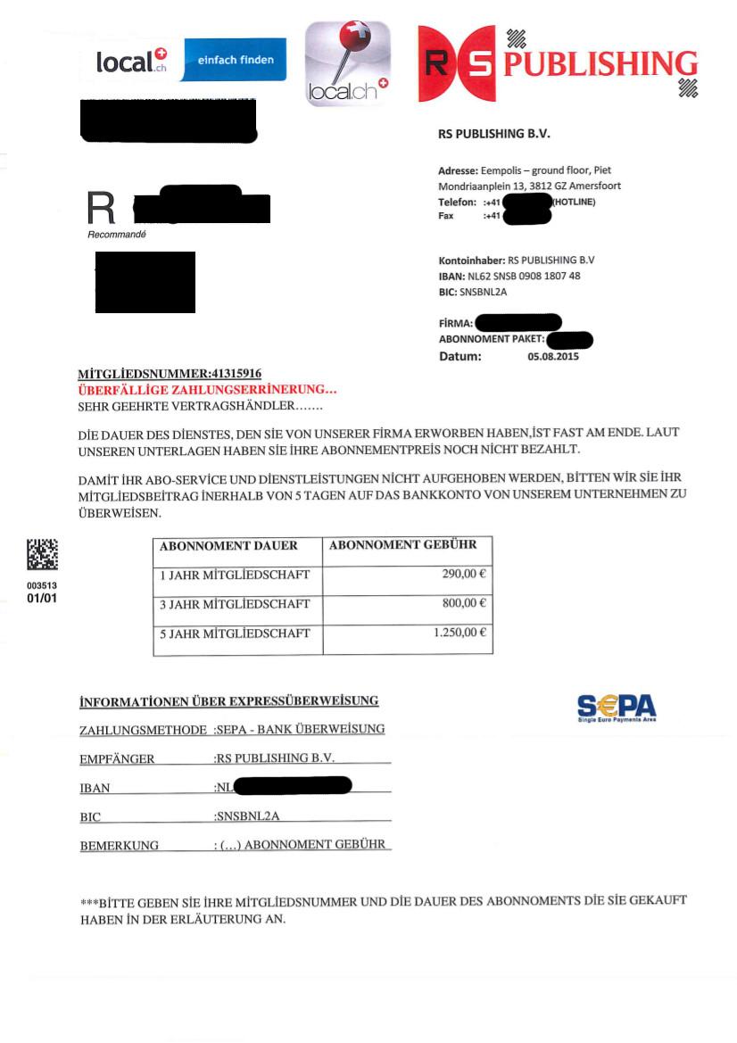 überfällige Zahlungserinnerung Rs Publishing Bv