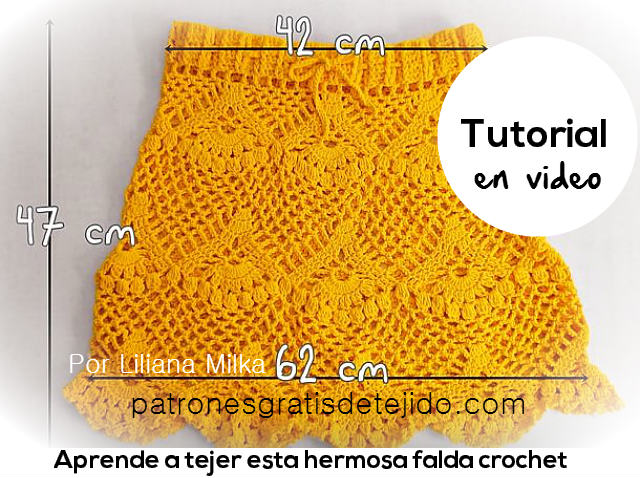 tutorial falda crochet ganchillo