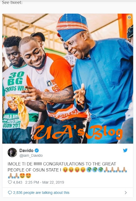Davido hails Osun election tribunal judgement, says 'Mandate returned'