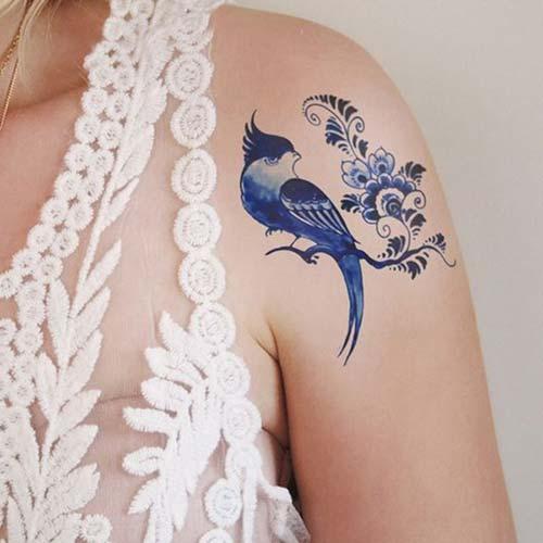 floral blue bird tattoo çiçekli mavi kuş dövmesi