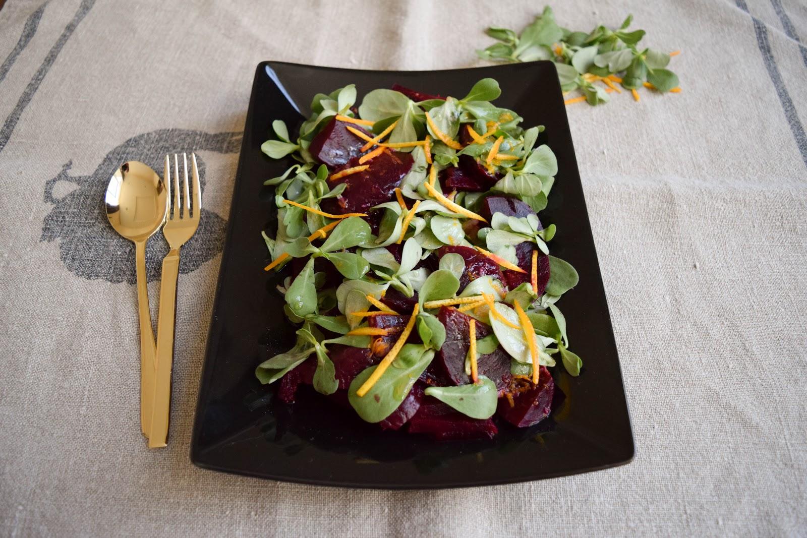 Beetroot and purslane salad with orange dressing