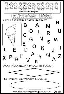 Atividade legal de alfabetização S