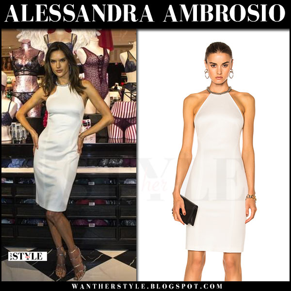 Alessandra Ambrosio in white beaded neckline dress galvan what she wore march 2017