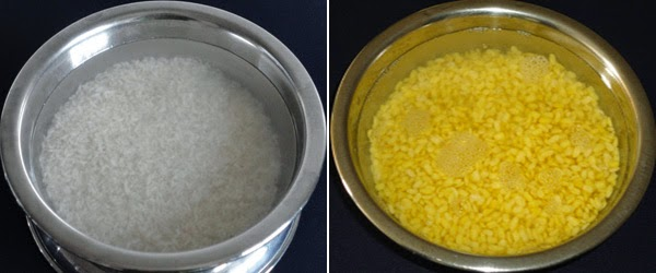 Soaked rice and moong dal