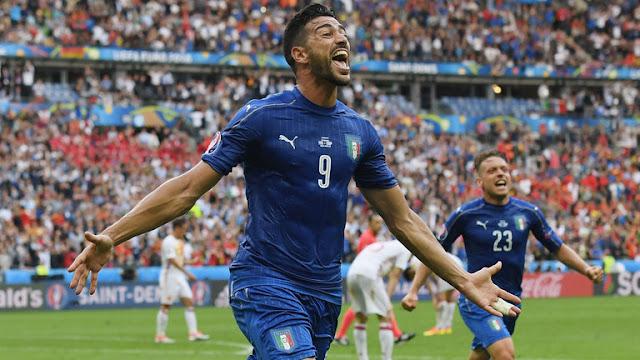 Graziano Pelle celebrates goal gainst Spain. Italy won 2-1 | Euro 2016