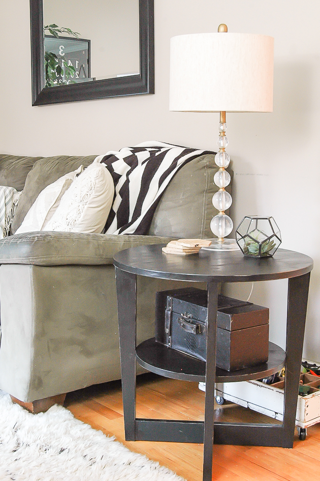 Painted side table sealed with poly