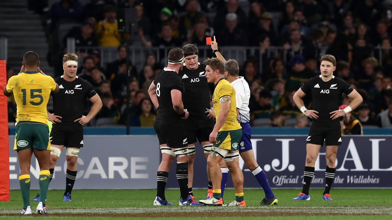 Jérôme Garcès shows Scott Barrett a red card in the Rugby Championship match against Australia
