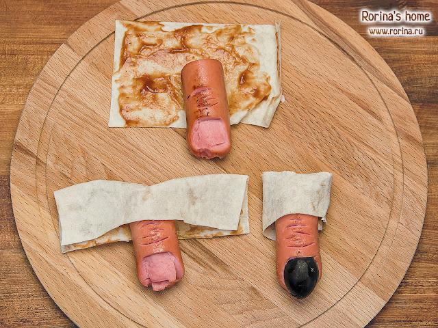 Оторванные пальцы из сосисок на Хэллоуин. Пошаговый рецепт