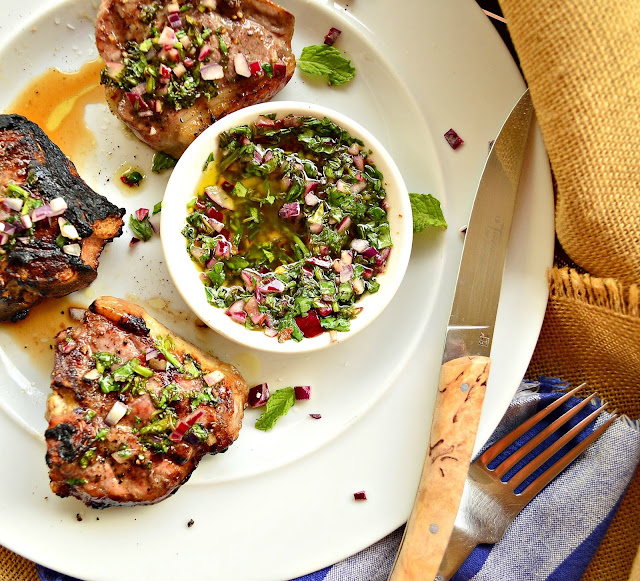These baby lamb chops are prefect on the grill. And this chimichurri with mint and cilantro, red onion and honey is truly amazing and so perfect for lamb! #lamb #sauce #chimichurri www.thisishowicook.com