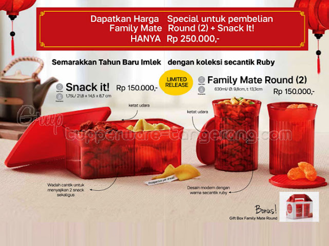 Set Family Mate Round dan Snack It Promo Tupperware Januari 2017