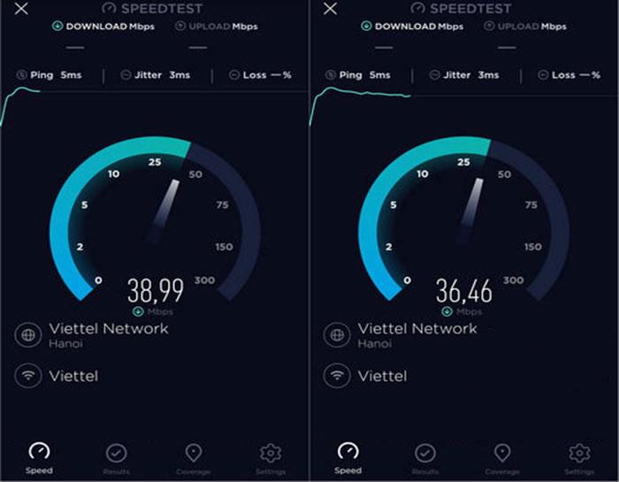 Speedtest đang kiểm tra ping và tốc độ download của internet