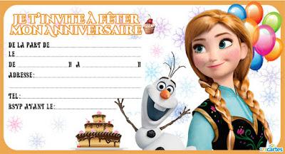 Carte d'invitation anniversaire Anna et Olaf Reine des neiges