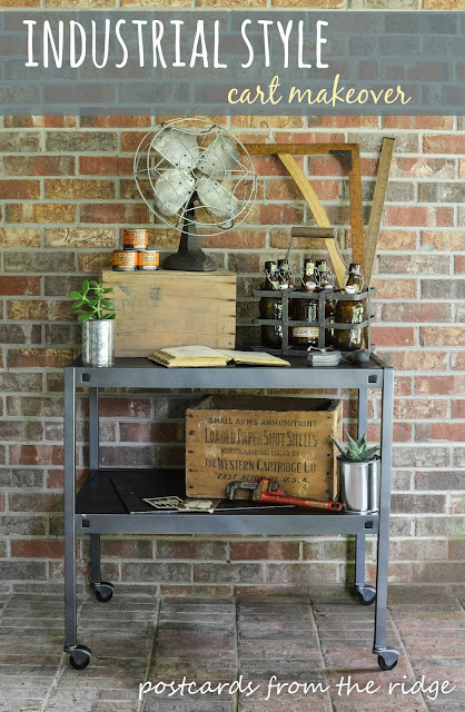 How to easily transform a boring commercial cart into a stylish industrial piece. Could be used as a bar cart or coffee station. Love the styling! Postcards from the Ridge