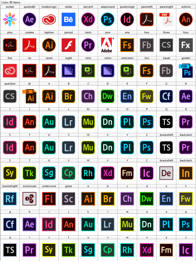 Download font adobe color Logos Programs adobe 90 icons