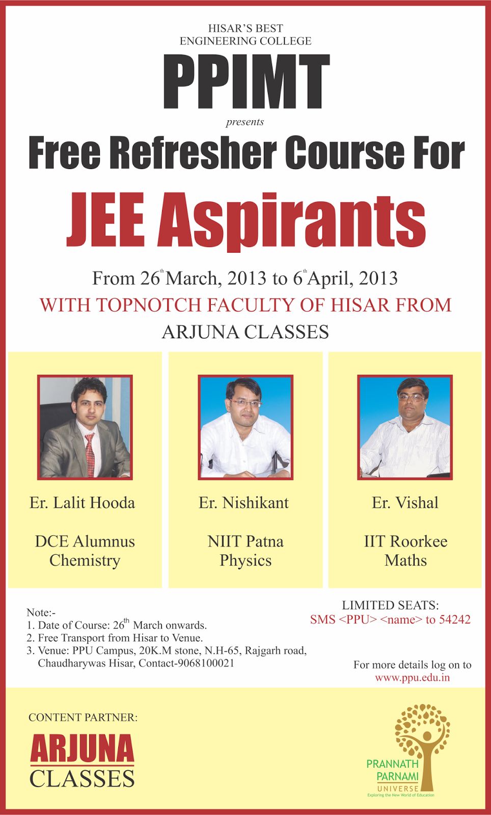 Poster design for coaching institute - Ppimt Engineering College Hisar A Event Jee Aspirants With Arjun Classes A Coaching Institute