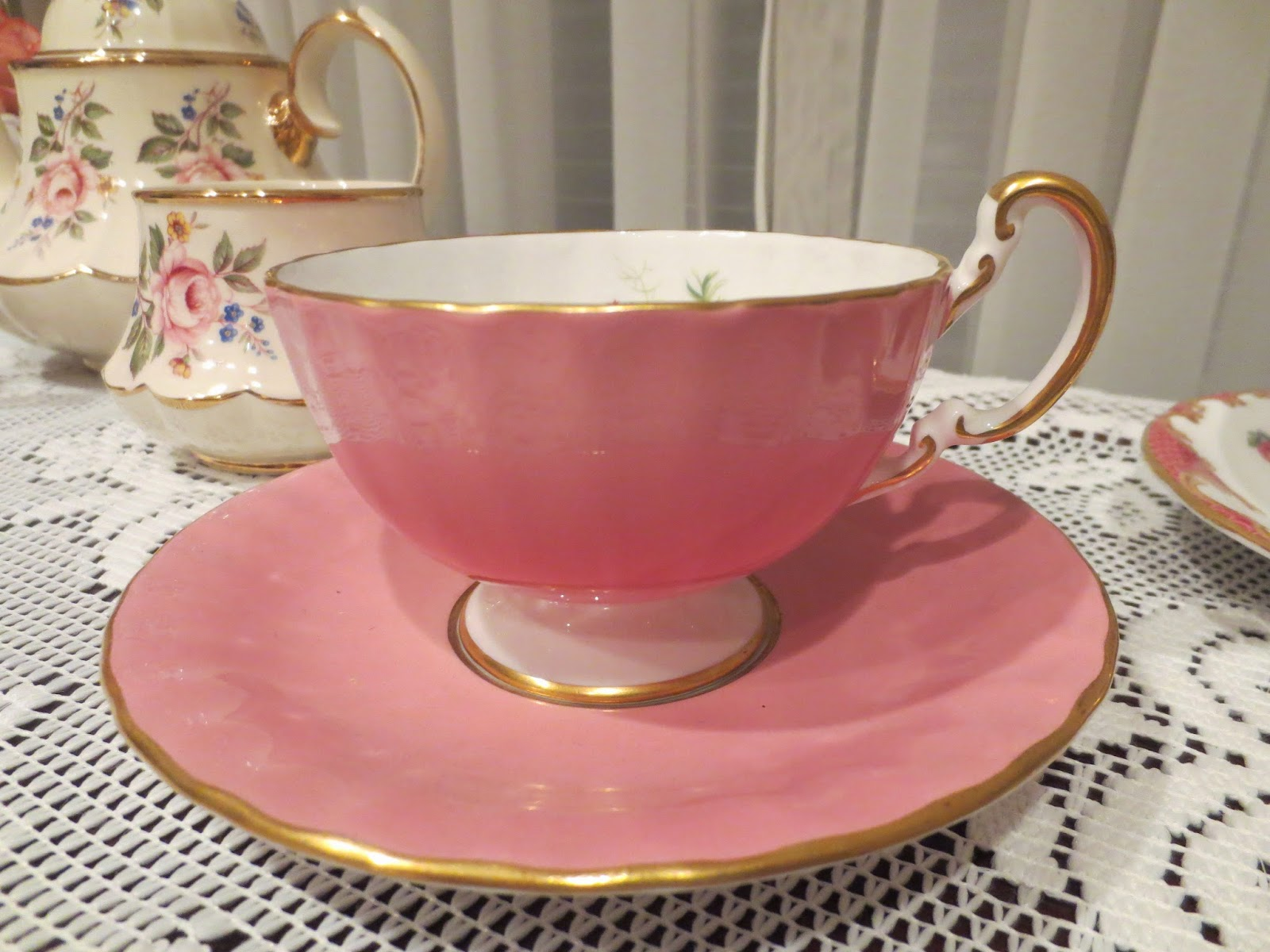 Karen S Cottage And Castle Matching Orphaned Rosy Cups And Saucers