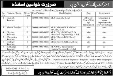 New Jobs in DPS School Rajanpur - 30 October 2018