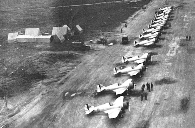 P-36 Hawks of the 18th Pursuit Squadron lined up at Elmendorf Field, Alaska, 23 August 1941 worldwartwo.filminspector.com