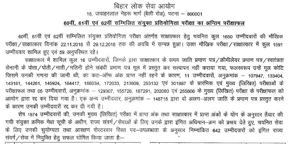 Final Result of BPSC 60th, 61st and 62nd combined Joint Exam