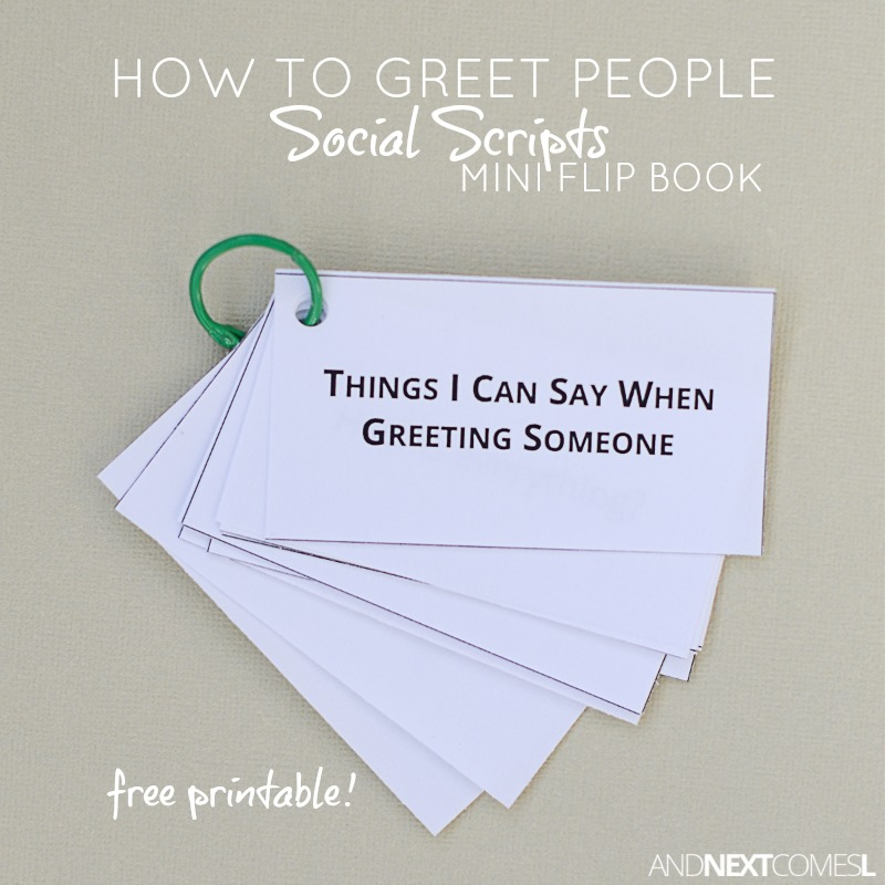 Greeting people social scripts mini flip book free printable and free printable greeting people social scripts for kids with autism or hyperlexia from and next comes m4hsunfo