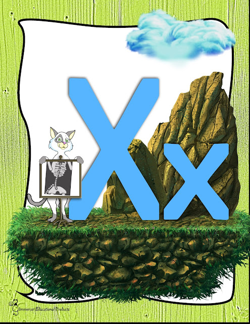 Cartoon cat holding up an x-ray screen next to an uppercase and a lowercase X