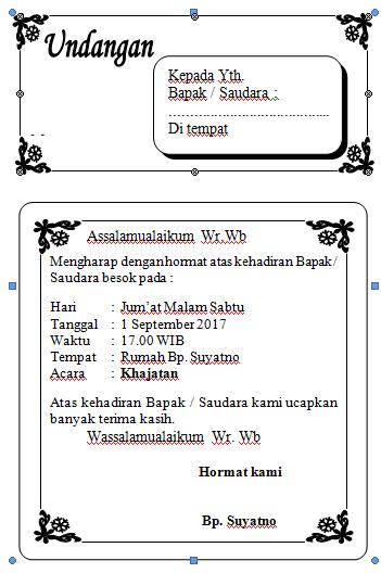 Contoh Surat Undangan Nonformal Bentang Bahasa