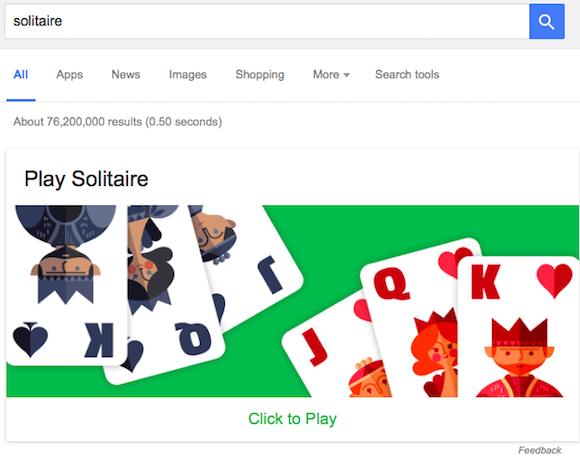 play solitaire and tic tac toe in google search