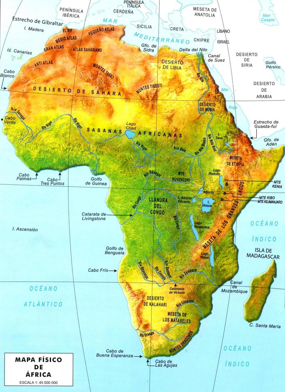 Los aventureros de las Ciencias Sociales: Mapa Físico de África
