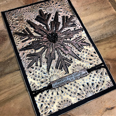 Mixed Media Techniques Tutorial by Sara Emily Barker for The Funkie Junkie Boutique https://frillyandfunkie.blogspot.com/2019/01/saturday-showcase-easy-mixed-media.html Tim Holtz Sizzix Alterations Ice Flake 7