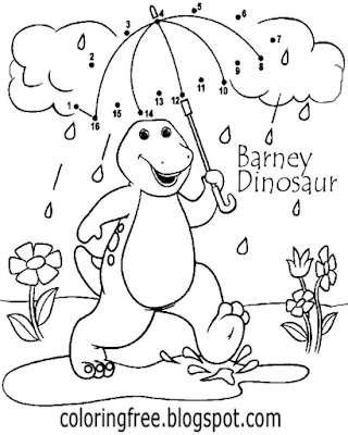 Nice TV cartoon young kids activities simple Dot to dot Barney dinosaur coloring book pages to print