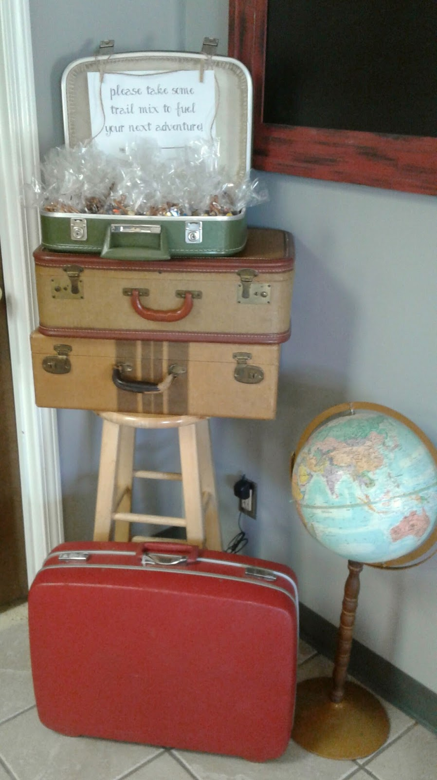 Trail Mix Party Favors In Vintage Suitcases  You Can Guess Where Those Came  From . . . Yes, The Globe Is Mine, Too!