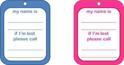 Travel ID tags for kids - free printable