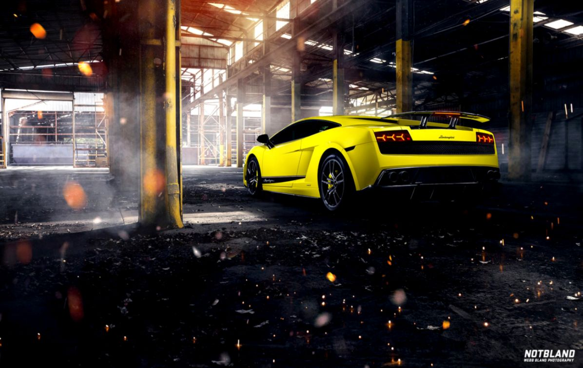 Car Lamborghini Gallardo Superleggera Yellow Back Warehouse Hd