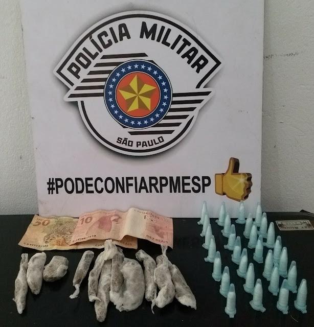 POLÍCIA MILITAR PRENDE HOMEM COM GRANDE QUANTIDADE DE DROGAS EM CAJATI