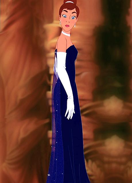 Filme Anastasia Fox , vestido azul