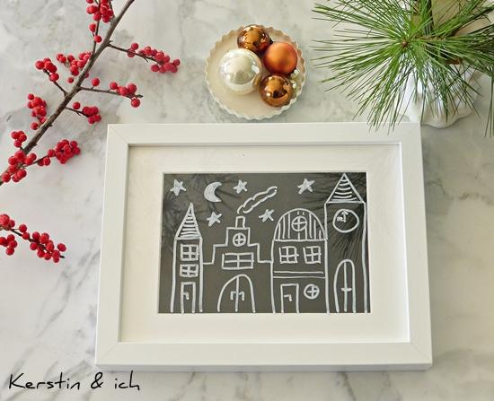 Bilder mit Kreidemarker und Weihnachtsmotiv