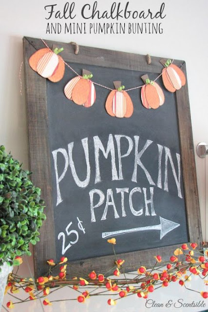 Fall chalkboard and mini pumpkin bunting