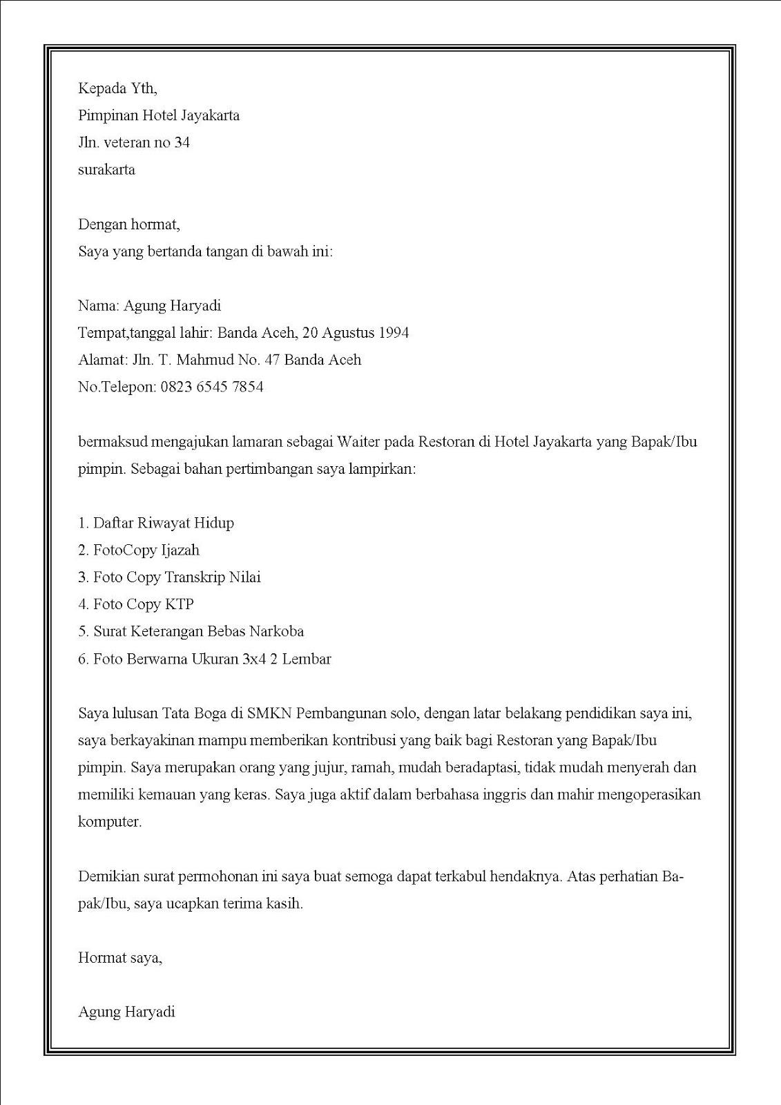 Contoh surat lamaran kerja di hotel sebagai waiters