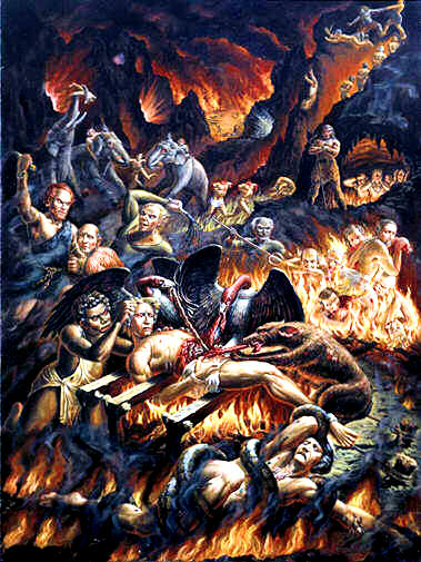 4. Mahararuravam(death by snakes)- Here there is also Ruru serpents but more fiercer. Those who deny the legitimate heirs, their inheritance and possess and enjoy others property will be squeezed and bitten non stop by this terrible serpents coiling around them. Those who steal another man's wife or lover will also be thrown here.