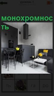 На кухне интерьер в виде монохромности, белый потолок, темная мебель, только желтые подушки на диване