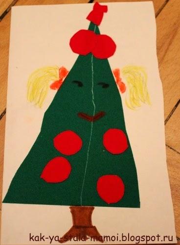 новогодние поделки, готовимся к новому году, творим с детьми, самодельные новогодние открытки,