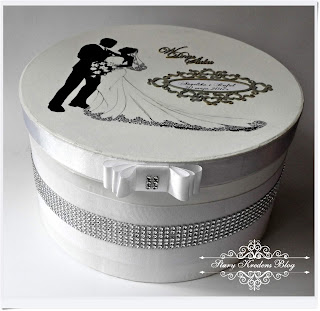 Pudełko na prezenty ślubne – biel i srebro – glamour.